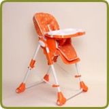 High Chair Up and Down avec double plateau orange - Chaises hautes et chaises pour enfants